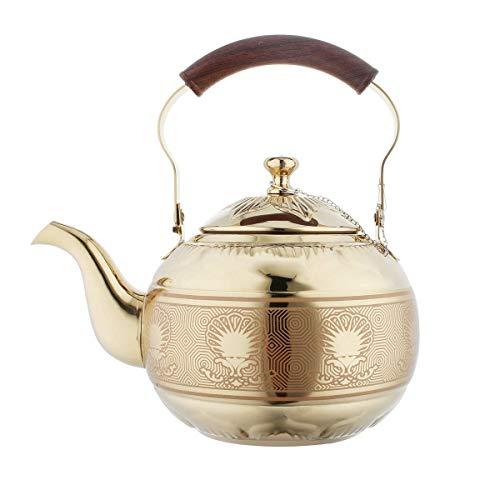 YEXIN 2 Liter Teekanne mit Infuser für Loose Leaf-Tee Edelstahl-Wasserkocher 8 Tassen Induktionskochfeld Teekanne Sieb Büro Warmwasserspiegel-Finish (größe : 2.0 L)