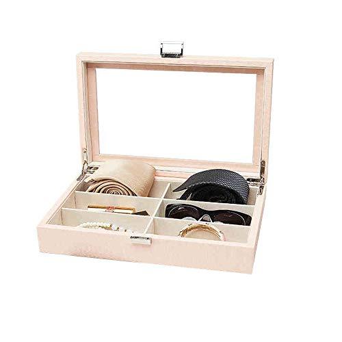 JIAYING Schmuckkästen Leder Schmuckschatulle , Ohrring Halskette Armbanduhr Sonnenbrille Display Aufbewahrungskoffer, Geschenkboxen, 1 Schicht - 6 Aufbewahrungsgitter (Schwarz, Pink) (Color : Pink)