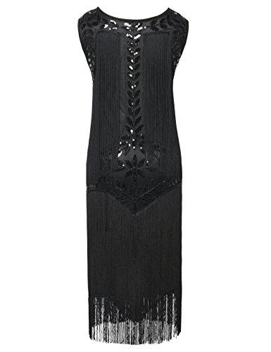 PrettyGuide Damen 1920er Vintage Paillette Alle Fransen Inspired Flapper Kleider Schwarz