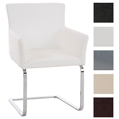 Clp sedia cantilever pirus in similpelle   sedia imbottita con braccioli e telaio in acciaio inox   poltrona conferenza   altezza seduta 49 cm   sedia riunioni elegante   sedia a pensilina bianco