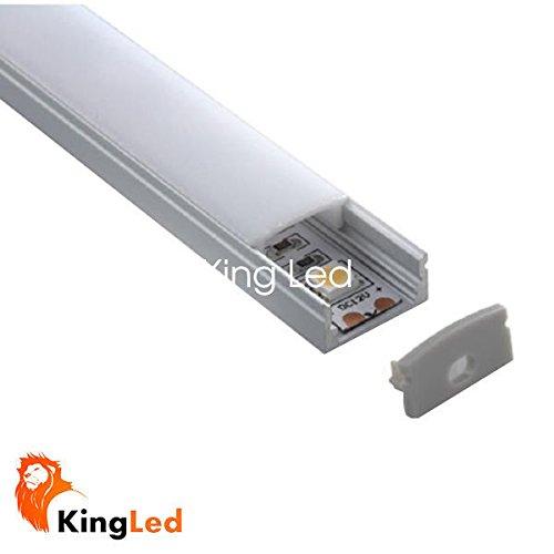 Perfil de aluminio 1707 1m plano para tiras Led con tapa blanca