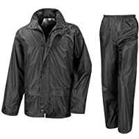 RSC Wetplay Waterproof Motorcycle Motorbike Over Jacket Trousers 2-Piece Suit, Black or Navy Blue Adults Mens Ladies Unisex Womens 3