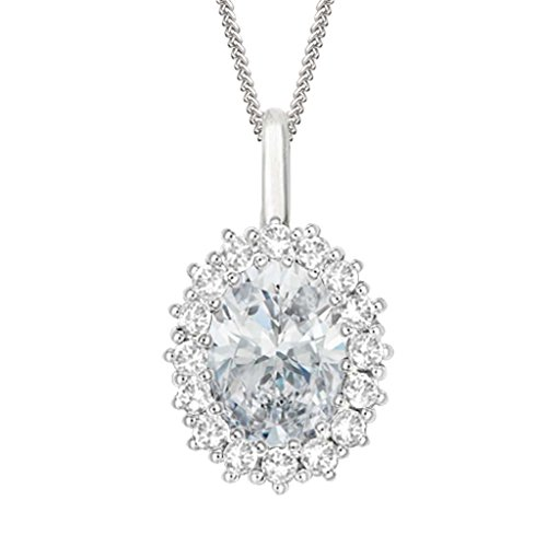 "Silvernshine 2.30 Ct Oval D/VVS1 Diamond Halo Pendant With 18"" ChaIn In 14K White Gold Fn Sterling"