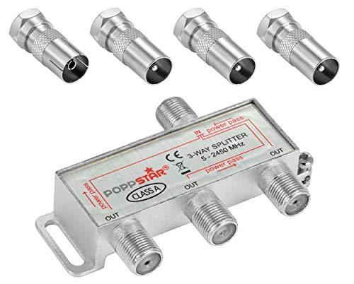 Poppstar Sat-Verteiler 3-Fach (analog/digital-tauglich), 100dB, 5-2500 MHz, inkl. IEC Adapter