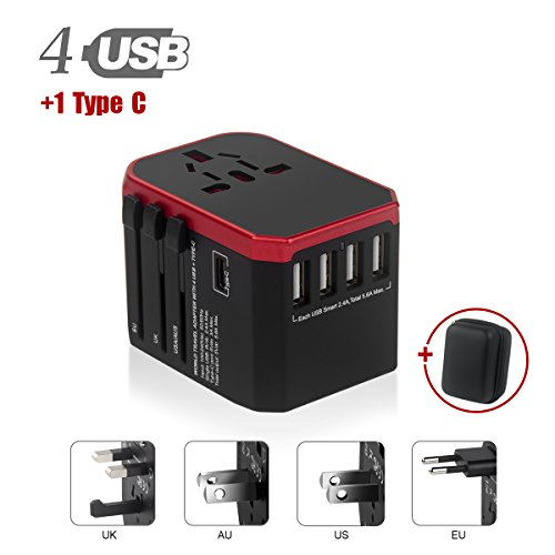 Tapón de Viaje, 4 Puertos USB y 1 Adaptador de Viaje Mundial Tipo C, Todo en uno Adaptador Universal para teléfonos Móviles y tabletas HLT Plug (Rojo)