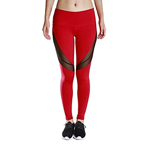 Wgwioo Pantalons De Yoga Sports Pour Femmes Fitness Loisirs Quick Dry Outdoor Run Elasticity High Waist Skinny Leggings Patchwork Mesh Stretchy Athletic Workout Gym Throw Red L