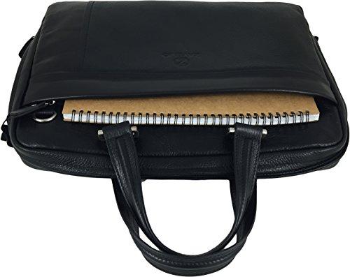 Zavelio Umhängetasche / Schultertasche / Laptoptasche / Messenger Bag aus echtem Leder Schwarz