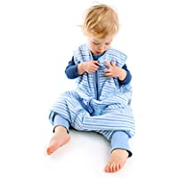 Sacco Nanna con Piedini Slumbersac Leggero per Bambino circa 0.5 Tog - Strisce Blu- 3-4 anni
