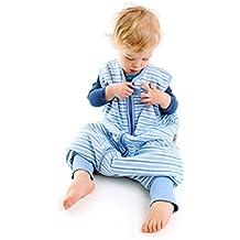 Sacco Nanna con Piedini Slumbersac Estivo per Bambino circa 1.0 Tog - Strisce Blu- 3-4 anni
