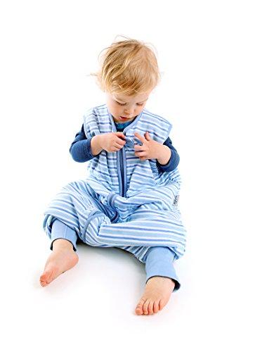 Sacco nanna con piedini slumbersac per bimbo circa 2.5 tog - strisce blu - 12-18 mesi
