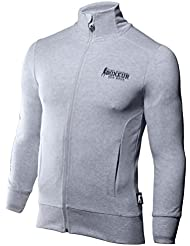 Boxeur Des Rues Fight Activewear Felpa, Uomo, Full Zip, Grey Mel, M