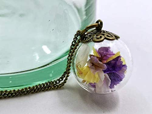 Collana donna in bicchiere - Fiori di Lavanda di mare - Piccolo globo 20mm - Idea regalo anniversario - Regalo di San Valentino - regali per lei - Prime