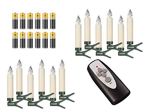 12 Weihnachtsbaumkerzen ✔ kabellos ✔ Timer ✔ Dimmfunktion ✔ Flacker-Modus ✔ Farbwechsel ✔ GS ✔ Batterien ✔ Weihnachtsbeleuchtung für Innen & geschützten Außenbereich (Elfenbein/Creme Farbwechsel) -