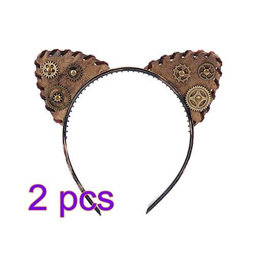 Punk Cute Kostüm - Amosfun Amosfun Katze Ohr Stirnband Punk Gothic Punk Gear Haarband Kopfbedeckung Haarschmuck für Karneval Halloween Kostüm 2 Stk