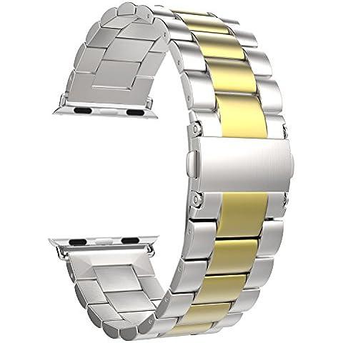 MoKo Apple Watch 42mm Cinturino, Braccialetto in Acciaio Inossidabile con Chiusura Pieghevole per Apple Watch 42mm di Series 1 2015 & Series 2 2016 - Argento & Oro (NON Adatto a 38mm)