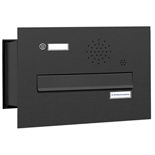 AL Briefkastensysteme 1er Briefkasten Mauerdurchwurf in Anthrazitgrau RAL 7016, 1 Fach DIN A4, wetterfeste Premium Briefkastenanlage Postkasten
