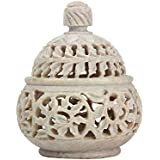 ALs AnM Fashion Intricately Hand Crafted Soapstone Tea Light Holder With Lid With Carving On All Sides