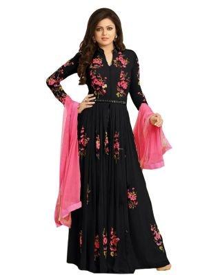 BMR Fancy Designer Georgette Black Color Partywear Wedding Long Anarkali Semi Stitched Salwar Suit
