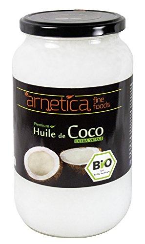 Arnetica - Huile de coco extra vierge - 1000ml, 1L - Certifiée organique bio pressée à froid