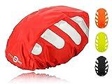 Wasserdichter Regenschutz für den Fahrradhelm (rotes Cover) Unisex Regenüberzug für den Helm mit Gummizug und Reflektor-Elementen – wasserfester Überzug für alle Helme (Herren, Damen, Kinder)