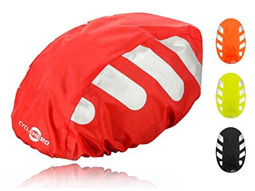 Wasserdichter Regenschutz für den Fahrradhelm (rotes Cover) Unisex Regenüberzug für den Helm mit Gummizug und Reflektor-Elementen – wasserfester Überzug für alle...