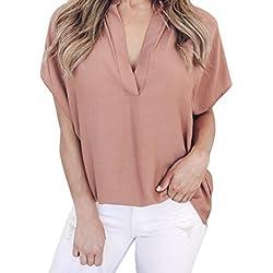 MORCHAN Femmes Dames d'été en Mousseline de Soie à Manches Courtes Chemise décontractée Tops Blouse T-Shirt