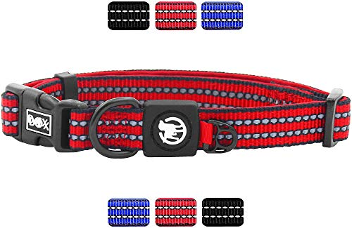 DDOXX Hundehalsband Nylon reflektierend Neopren gepolstert verstellbar | viele Farben & Größen | für kleine & große Hunde | Halsband Hund Katze Welpe | Katzen-Halsband | Rot, S