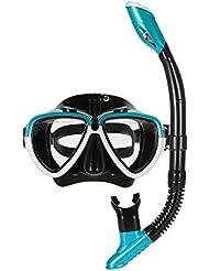 Lixada Kit de Máscara de Vidrio Templado y Tubo para Snorkelling / Submarinismo / Natación / Pesca / Submarina