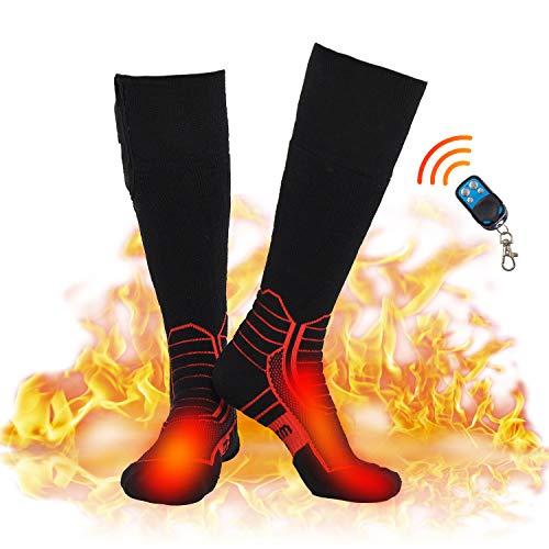 DR. WARM Beheizbare Socken Herren Damen,7.4V 2600MAH Elektrische Wiederaufladbarem Batterie Socken, Winter-Baumwollsocken Fußwärmer für Skifahren Jagen Angeln Reiten Radfahren Auf 3,5-8 h (L) -