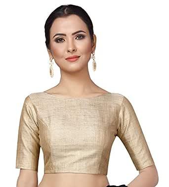 STUDIO Shringaar Women's Golden Lama Stitched Saree Blouse