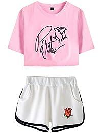URMOSTIN Payton Moormeier Mujeres Camisetas Crop Top y Pantalones Cortos Ropa Corta Traje de Dos Piezas para Niñas Ropa Chándales Deportiva