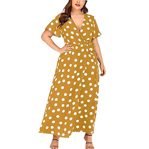 dc240b744ddf56 AOGOTO Damen Kleid V-Ausschnitt Kurzarm Lässig Plus Size Polka Dot Printed  Belt Dress