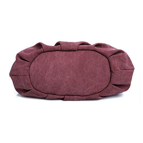 Aisi Damen Handtasche / Umängetasche / Schultertasche / Handgelenkstasche / Henkeltasche / Canvas-Tasche / Segeltuchtasche mit dem abnehmbaren verstellbaren Schulterriemen Rot