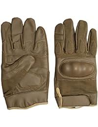 Mens Tactical Hard Knuckle Brown Leather Gloves Police Security Biker (Medium)