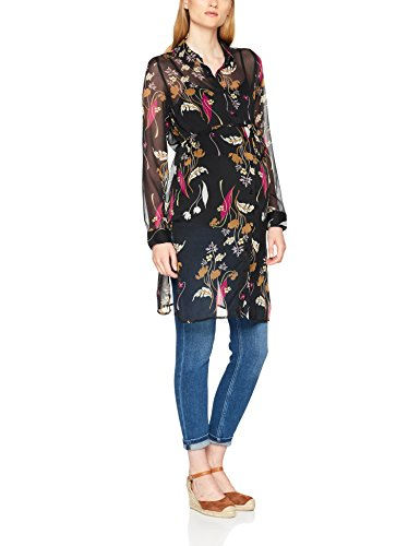 MAMALICIOUS Damen Umstandsbluse Mlshania L/S Woven Shirt Tunic, Mehrfarbig (Black AOP:Black/Dry Rose/Chinese Yellow/Sea Mist), 36 (Herstellergröße:S)