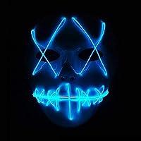 Yukun Máscara La máscara Luminosa de la línea de la luz fría de Halloween llevó la máscara Fluorescente Adulta de Grimace para Adultos, Azul