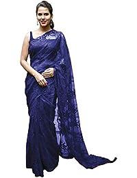 Swara Fashion Women's Nylon Net Multi Work Saree(SFA-3231-B_Blue)