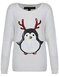Heart & Soul Womens Ladies Christmas Xmas Penguin Sequin New Sable Jumper Sweater