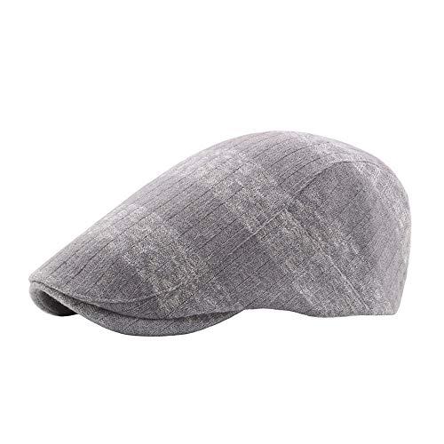 Sandy Cowper Sommer Baskenmütze Caps für Männer Frauen Vintage nachrichten Boy Cap Cabbie Gatsby Leinen Outdoor Hüte Marke Sonnenhut Unisex Papa Hut (Farbe : Grau, Größe : 56-58CM) -