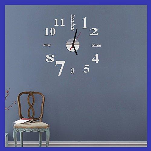 GuoEY European Fashion kreative Wohnungseinrichtung Diy Englisch Acryl Watch Clock Silber Spiegel