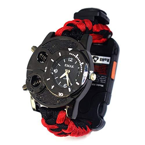 CARNIVAL Notfall-Überlebensuhr für Herren und Damen mit Paracord/Whistle/Firefighter/Kompass und Thermometer, Multifunktions-Outdoor-Ausrüstung,Rot -