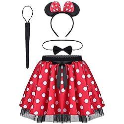 dPois Vestidos de Princesa Diadema Niña Bebé Fiesta Bautizo Tutú Ballet Danza Falda Lunares Bragas Disfraces Fantasía Carnaval Cumpleaños Infantil (6 Meses - 14 Años) Rojo 4 pc 2-3Años