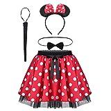 Tiaobug Mädchen Kostüm Set Mini Polka Dots Rock + Fliege + Haarreifen mit Maus Ohren Schleife + Schwanz Karneval Weihnachten Party Outfit Rot weiß Punkte 152-164