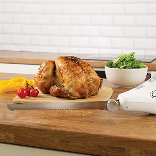41rQm6BUURL. SS500  - Quest 35059 Electric Serrated Carving Knife-Can Cut Turkey, Meat, Bread, Vegetables, Fruits, Ham, and Cooked Beef, 120W, White