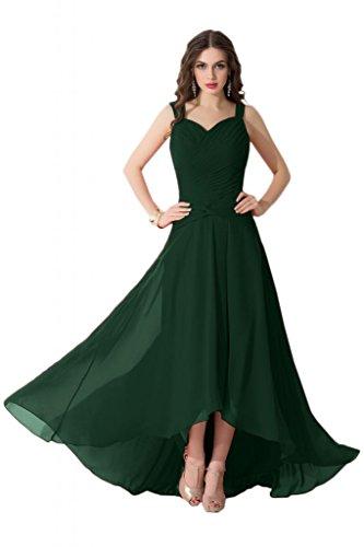 Sunvary alta, bassa, in Chiffon, da donna, per abiti da sera o da cerimonia, con diamanti Verde scuro