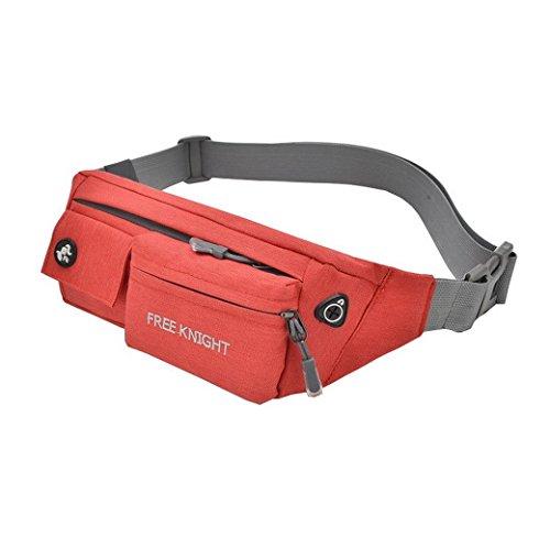 Taille Pack Fanny Pack Bauchtasche Hip Pack Running Tasche Hüfttasche wasserabweisend Verstellbarer Bund für Running Radfahren Wandern Jagd Rot