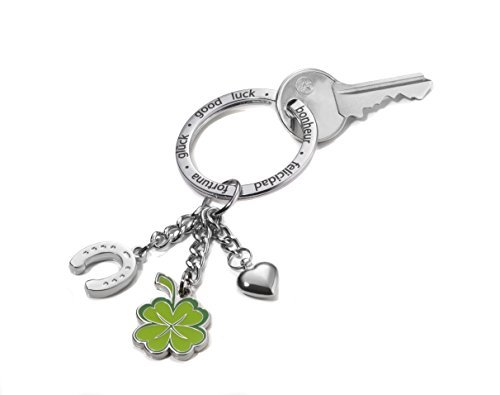 Porte-clés XL avec 3 anneaux: fer à cheval, trèfle à quatre feuilles et petit coeur