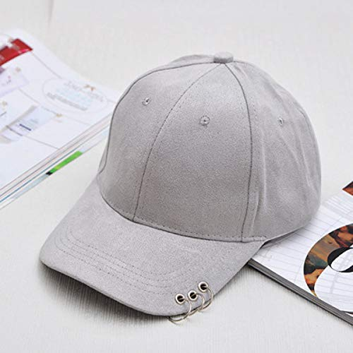 Yosrab Solide Herren Hip Hop Caps mit Ringen Unisex Caps Plain Suede Herren Damen Baseball Caps Cotton Suede Cap