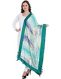 Dupatta Bazaar Women's Digitally Printed Green Georgette Dupatta With Pom Pom Border.