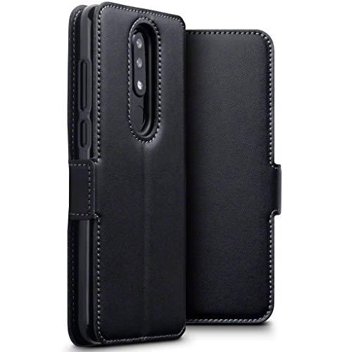 TERRAPIN, Kompatibel mit Nokia 5.1 Plus Hülle, ECHT Leder Börsen Tasche - Ultra Slim Fit - Betrachtungsstand - Kartenschlitze - Schwarz